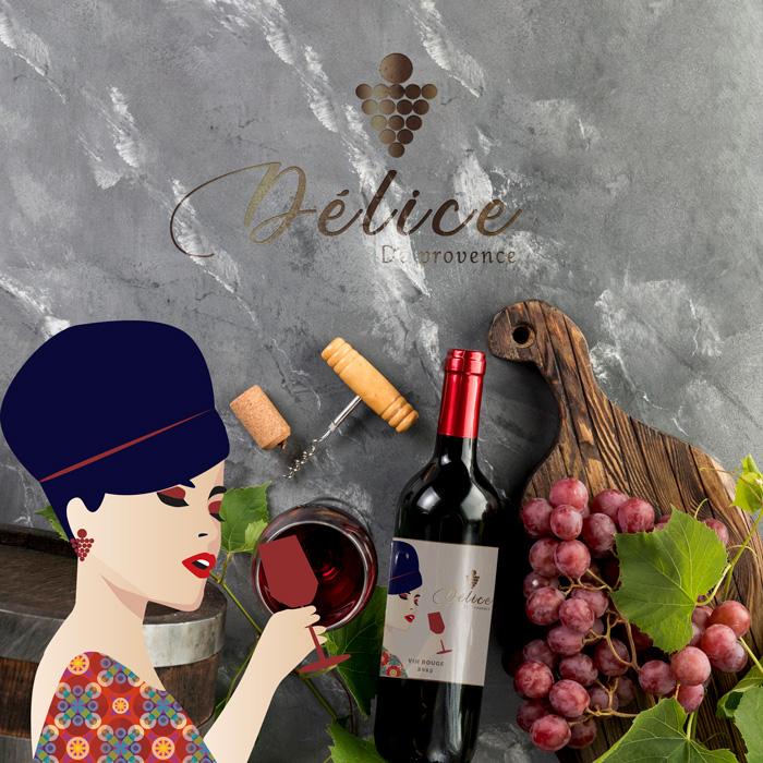 Illustration instagram vin rouge