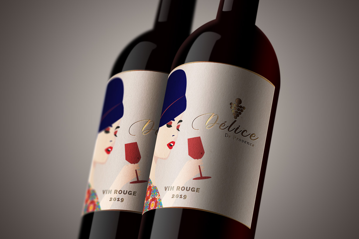 étiquette pour vin rouge