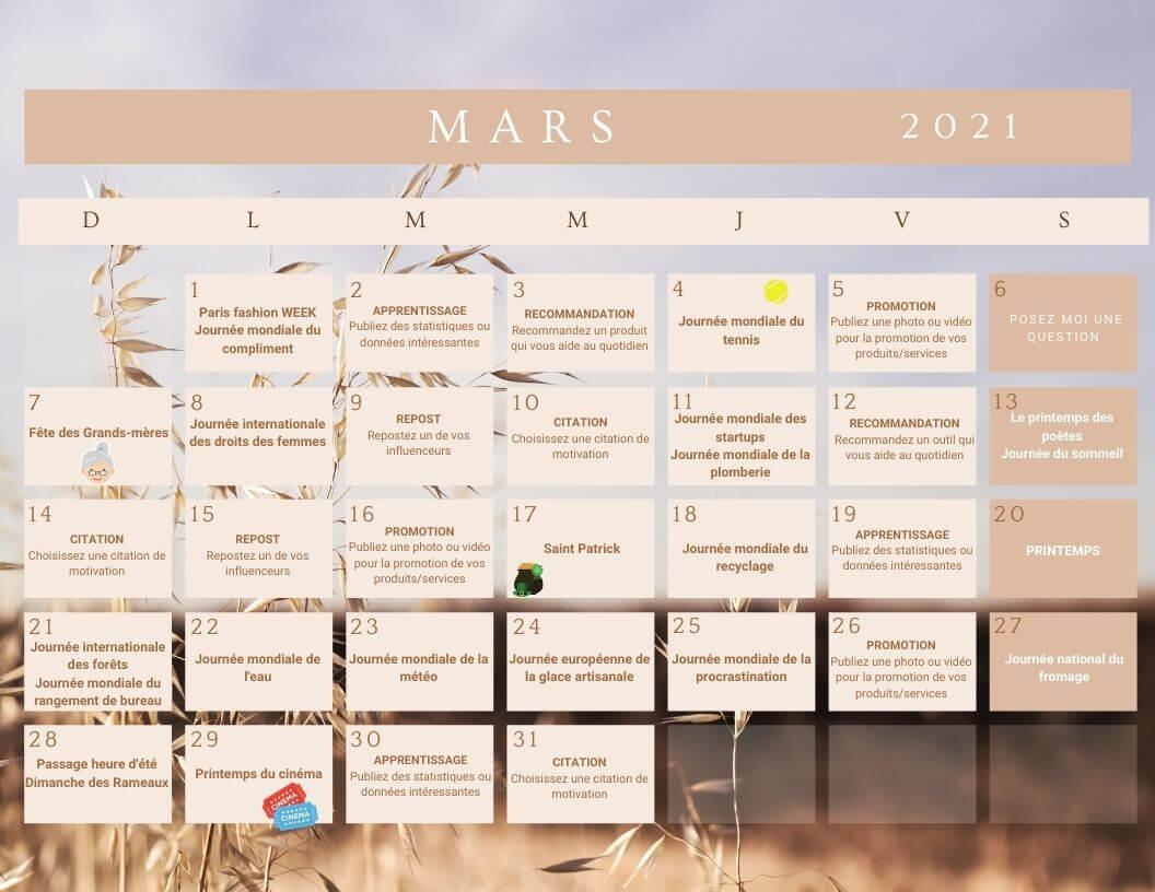 Calendrier mois de mars 2021