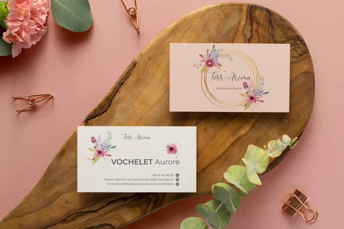 Carte de visite mockup aromathérapie floral