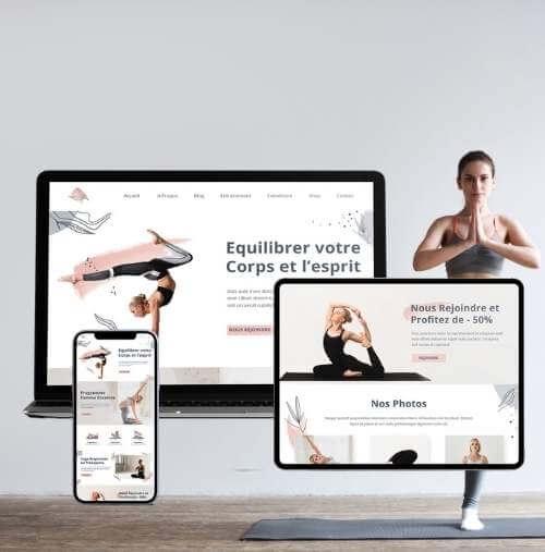 Présentation du site web yoga sur plusieurs écrans